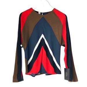 NWT. ZARA BASIC Color Block Long Sleeve Blouse